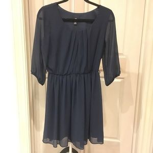 Navy Mid-Sleeve Dress
